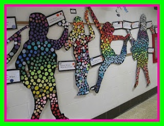 Silhouettes and colorful circles art project in kindergarten!
