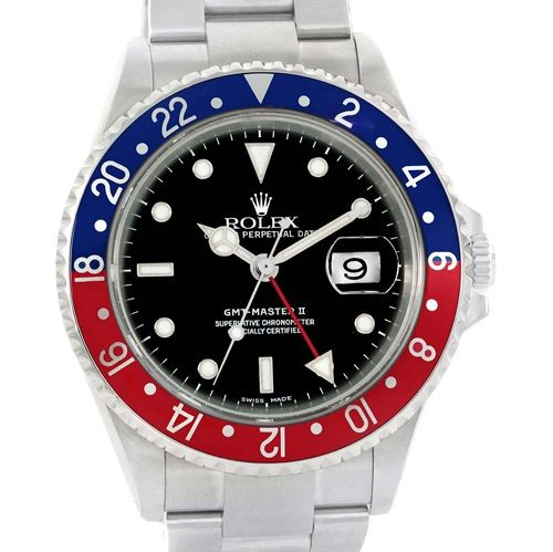 15893 Rolex GMT Master II Pepsi Bezel Steel Automatic Mens Watch 16710 SwissWatchExpo