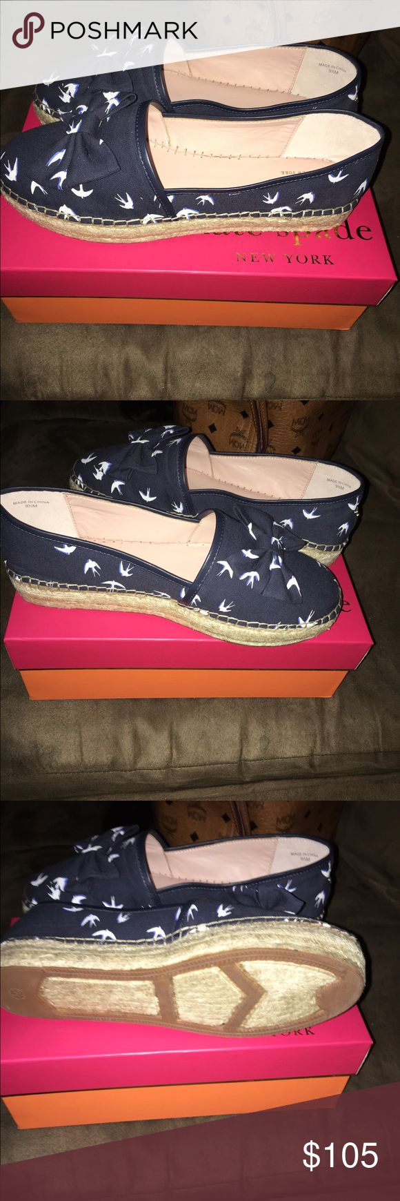 Cute blue and white espadrilles. These Kate Spade espadrilles are cute. They are navy blue and white. Wear them with some jeans and a cardi. Brand new in the box. kate spade Shoes Espadrilles