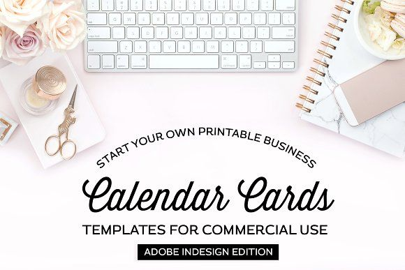 Calendar Card Templates For Indesign By Michelle Hickey Design On Creativemarket Note Card Template Calendar Template Card Templates
