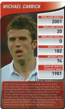 2009 Top Trumps England Football Stars #NNO Michael Carrick Front