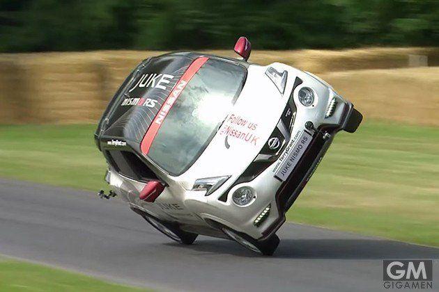 日産「ジューク NISMO RS」が片輪走行の世界記録を更新!