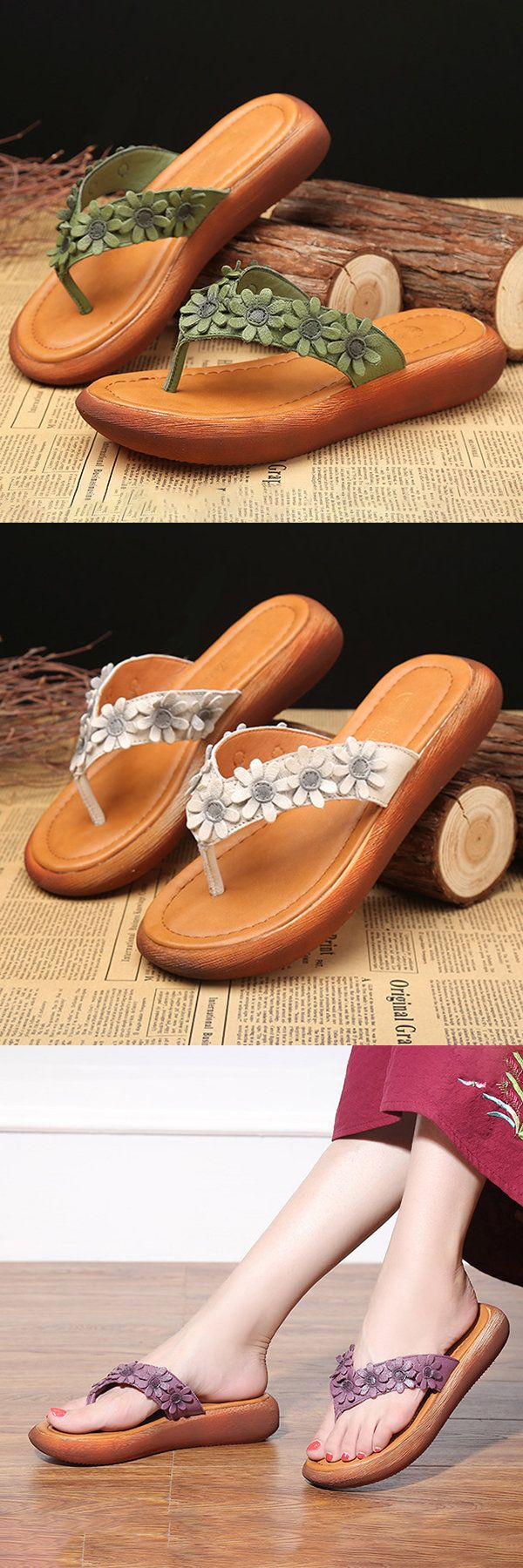 US$33.37  SOCOFY Flower Clip Toe Vintage Flip Flops For Women