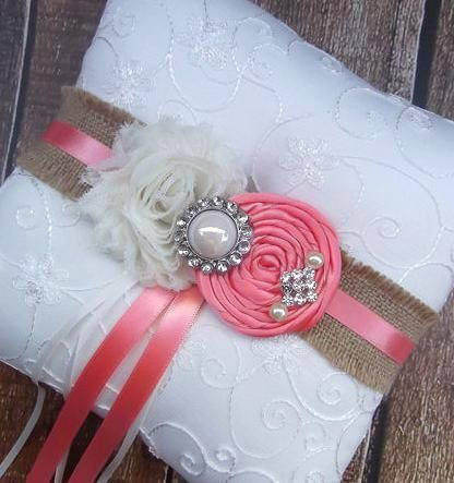 Ring Bearer Pillow  / Coral  Ring Bearer by CutieButtsBoutique, $29.99