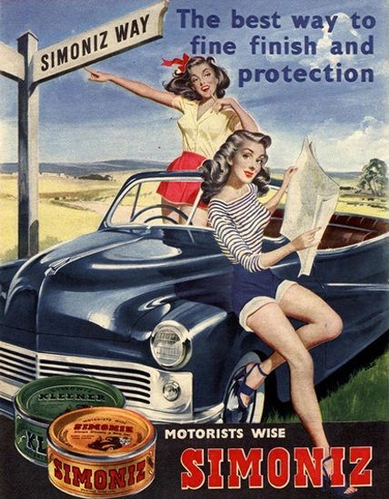 Simoniz Car Polish Girls Best Way To Fine Finish - Mad Men Art: The 1891-1970 Vintage Advertisement Art Collection