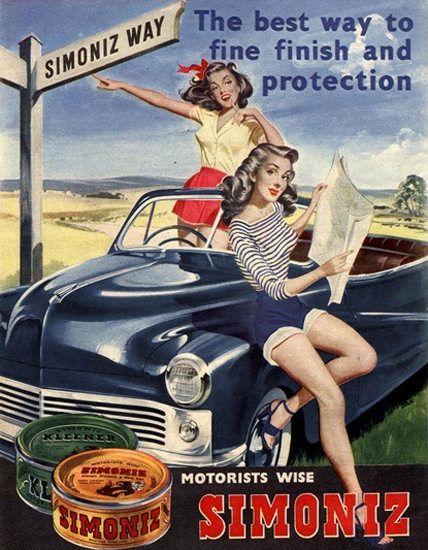 Simoniz Car Polish Girls Best Way To Fine Finish - Mad Men Art: The 1891-1970 Vintage Advertisement Art Collection