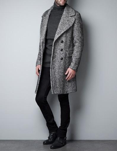 herringbone double breasted coat // zara