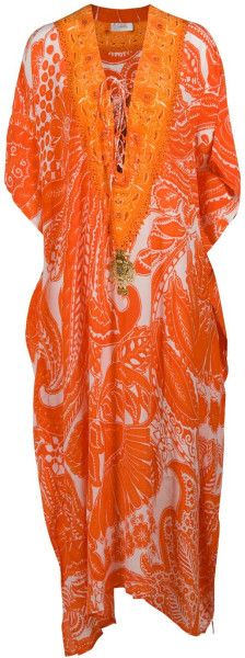 Camilla Long Lace-up Kaftan in Orange. Lyst.com