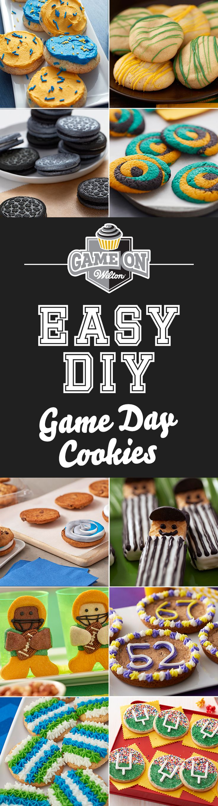Easy DIY Game Day Cookies - Can't decide what to bring to a tailgate or game day party? You can never go wrong with cookies! Cookies make the perfect game day sweets as they are versatile and easy to make; and you can decorate them in your favorite team's colors. So, whether you like your cookies sandwiched, stuffed, or decorated, here are 10 easy DIY game day cookies that fans will definitely root for!