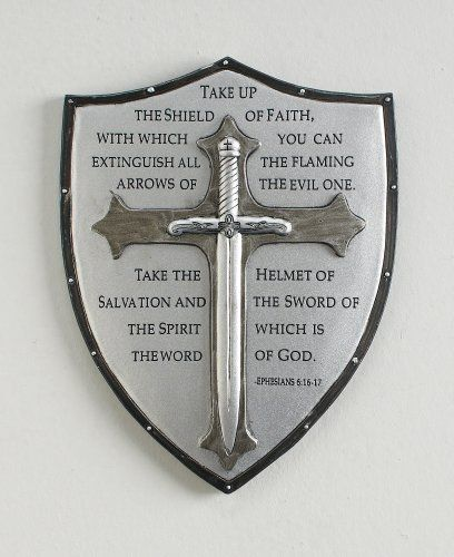 "6.5"""" Armor of God wall plaque. Displays Ephesians 6:16-17. Made of resin/stone mix. Great gift idea!"