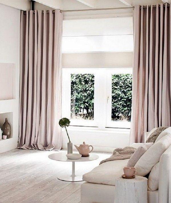 Пыльно розовый цвет, оттенки в интерьере, шторы
