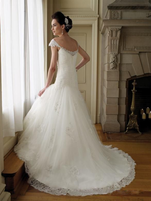 Capped+Sleeve+Sweetheart+Satin+Tulle+Lace+A-line+Wedding+Dress+%2cStyle+No.0bg02269%2cUS%24508.00