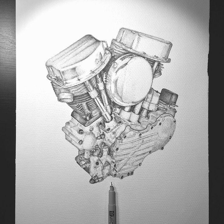 Harley Davison Panhead Engine 1948-1965 dotwork