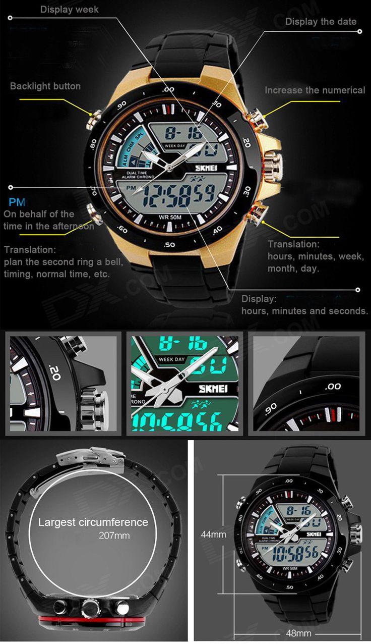 SKMEI 1016 50m Waterproof LED / Pointer Dual Mode Display Men's Sports Watch - Black + Yellow - Free Shipping - DealExtreme