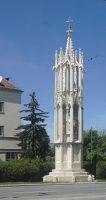 Die Spinnerin am Kreuz  Die Säule steht in Wien Favoriten am Wienerberg gegenüber dem Wasserturm. In einerSage wird erzählt, warum sie gerade hier errichtet wurde. Vor mehr als siebenhundert Jahr…