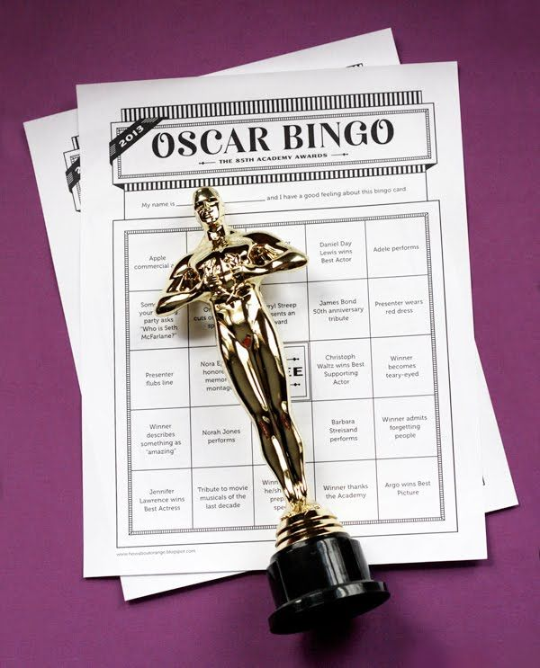 When my Oscar Party Hiatus ends, this would be a fun thing to do!  Printable 2013 Oscar ballot and bingo game | How About Orange