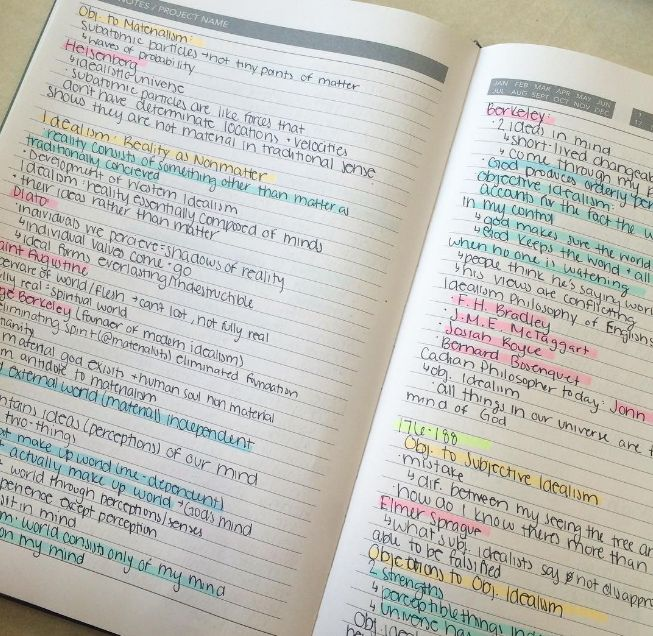 Via buzzfeed: Different colours for different themes and ideas will help you remember things at first glance when you go to revise them. Also highlighting as little as possible means you're most likely to retain the most important information.