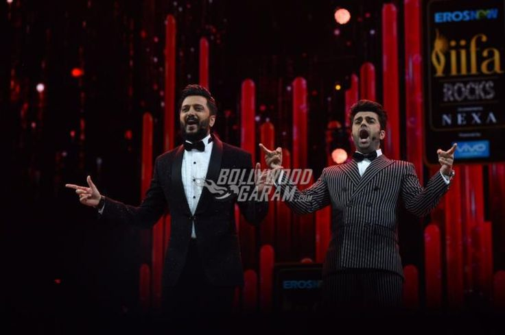 Hosts Riteish Deshmukh and Manish Paul entertain the audience at the IIFA 2017 event