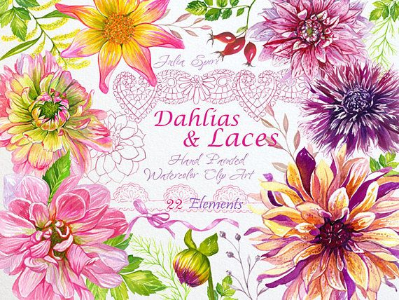 Watercolor Flowers Clipart Dahlias Wedding Invitation