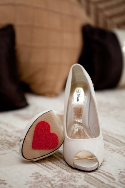 My shoes with red heart shaped non-slip soles