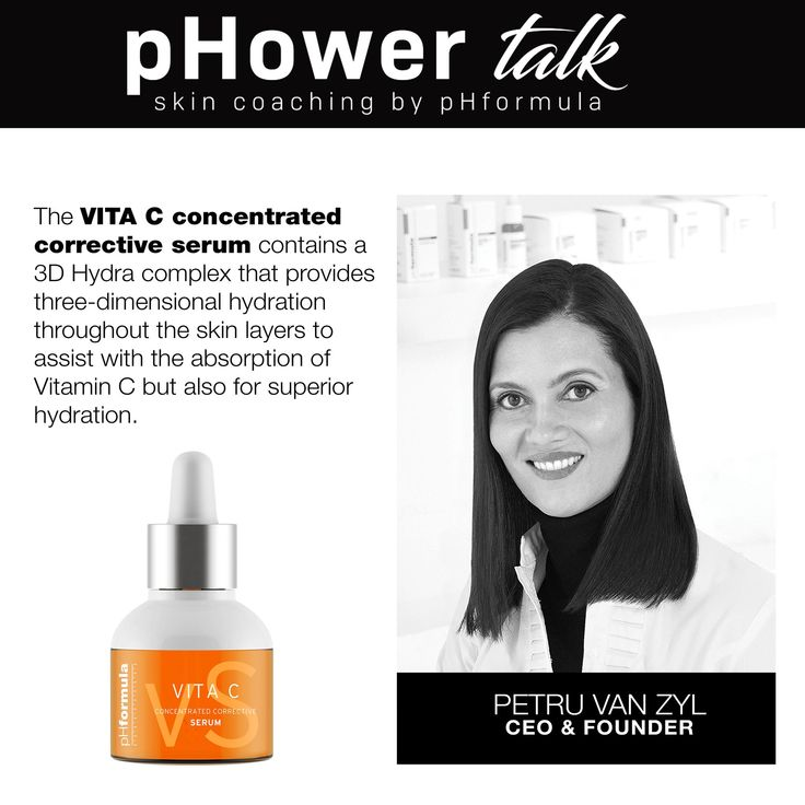 pHower talk skin coaching with pHformula. In order for Vitamin C to penetrate the skin optimally, water is needed as Vitamin C is a water-soluble ingredient.  #pHowerTalk #Innovation #TalkonThursdays