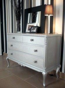 Antes y después: cómoda restaurada y pintada de plata