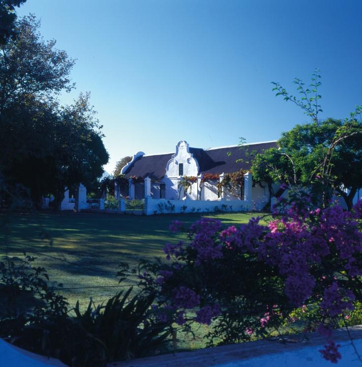 The 1773 Cape Dutch Gable on Vergenoegd Wine Estate from adistance.