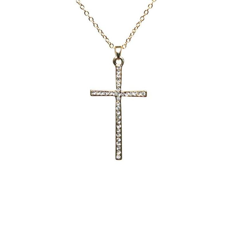 Mikey Gold Tone Crystal Cross Necklace