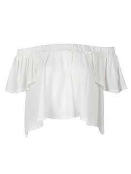 Shop White Off Shoulder Cap Sleeve Ruffle Crop Top from choies.com .Free shipping Worldwide.$11.9