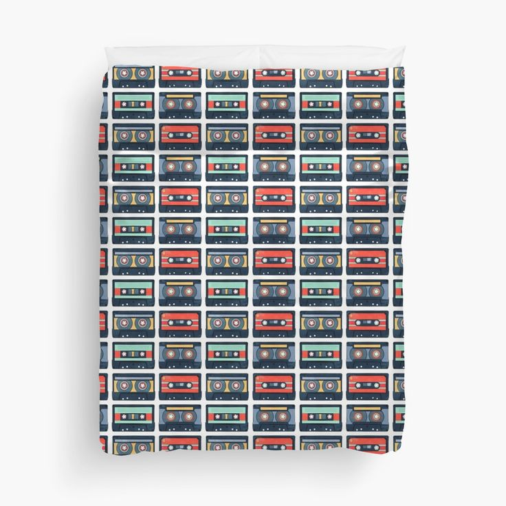 Cassette Tapes Pattern Duvet Covers by AnMGoug on Redbubble. #retro #cassettes #pattern #bed