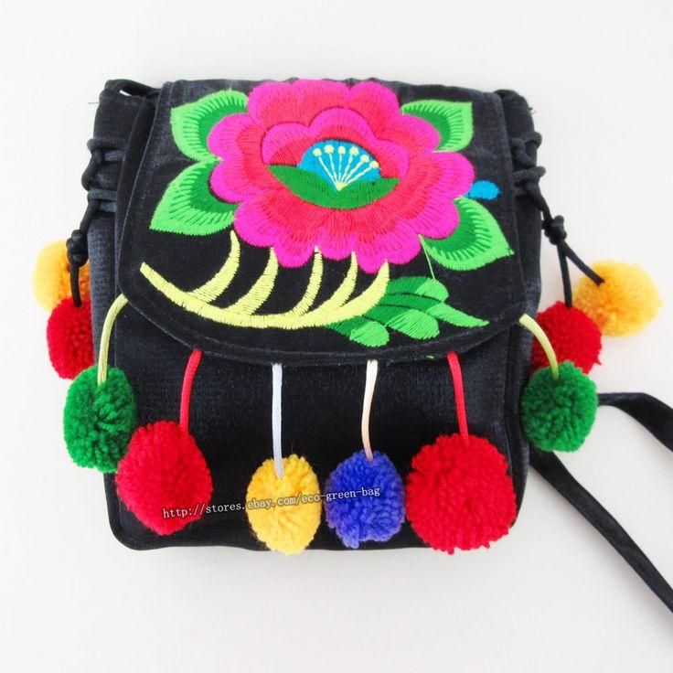 Vintage Hmong Thai Indian Ethnic hobo hippie purse shoulder bag pom charm  528B #Handmade #ShoulderBag#embroidery bag#pom charm bag#hippie bag
