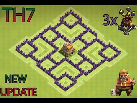 CLASH OF CLANS- TH7 FARMING BASE BEST TOWN HALL 7 DEFENSE WITH 3x AIR DEFENSES - YouTube