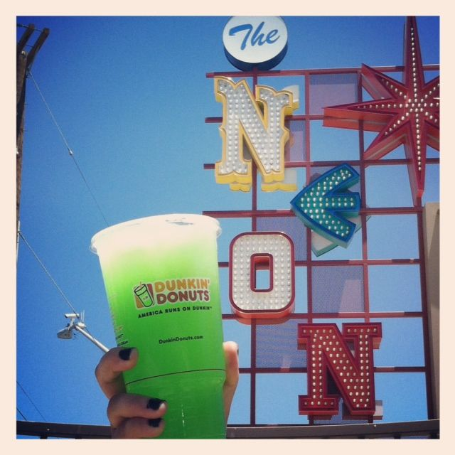 We're enjoying a Raspberry Lime Coolatta while exploring the Neon Museum in Las Vegas!