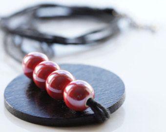 Collar de lino negro y collar rojo negro lino porcelana collar collar de madera original collar largo collar llamativo