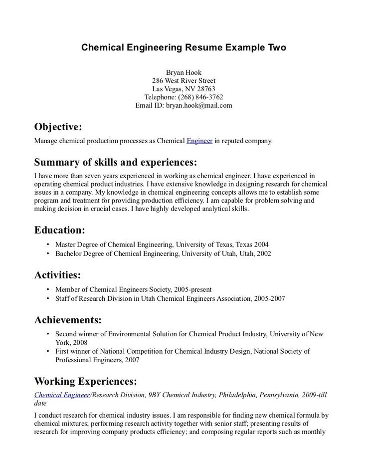 Chemical Engineer Resume Chemical Engineering Resume For Job Your Tags Sample Engineer