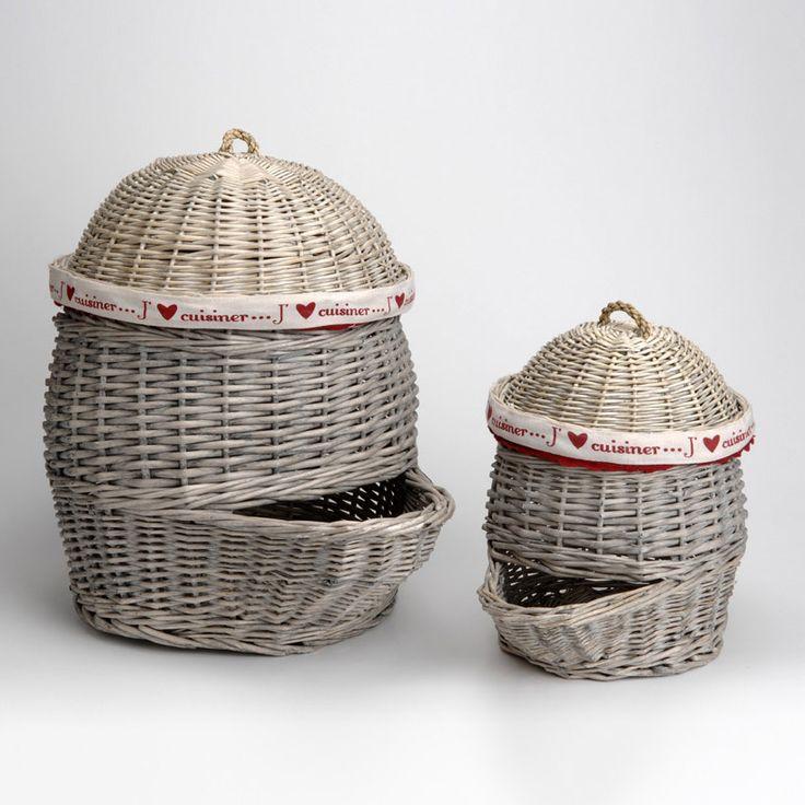 Panier décoratif en rotin à pommes de terre gris Set de 2 J'M LA CUISINE Amadeus