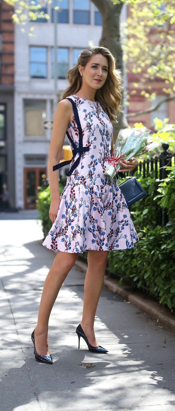 blush pink floral drop-waist dress with navy grosgrain ribbon side bow details and classic patent pointed toe navy pumps // 30 Dresses in 30 Days // Draper James, Jimmy Choo, Phillip Lim