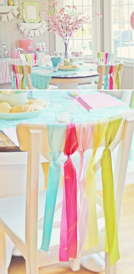 Lots of party styling ideas for a great bridal shower, baby shower, brunch, mother's day or birthday party: Ribbon tied to the backs of the chairs, bird cage cupcake stand, drink station. Decorating elements include: Glass milk bottles, Polka dot paper straws, Cupcake wrappers, Cake Pops, Cake Pop Sticks, Cake Pop Supplies, Candy, Ribbon, Apothecary Jars