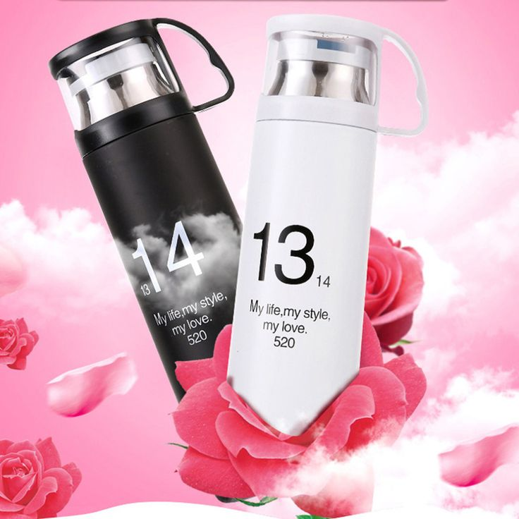 500ml 1314 One Life One Love Clear Cover Stainless Steel Lovers Vacuum Cup Coffee Mug Travel Drink Bottle 2 Colors