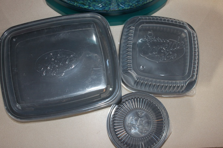 These make for great storage containers! They are applebee's carside to go containers and KFC Bowl containers! I even wash them in my dishwasher and they come out fine! no more buying storage containers for me :-)
