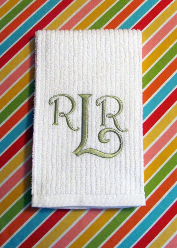 Monogrammed Kitchen Towel Creations For Eleanor Pinterest Nice Letters And Monograms