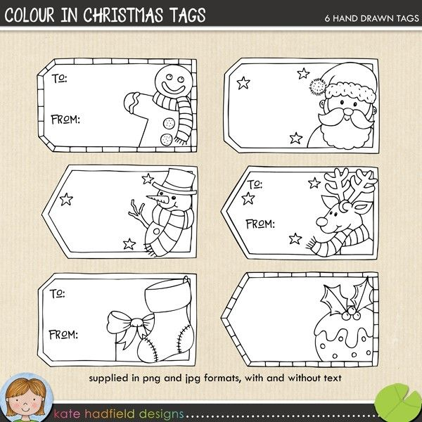 Colour In Christmas Tags Nyomtat K 233 Peslaphoz 3