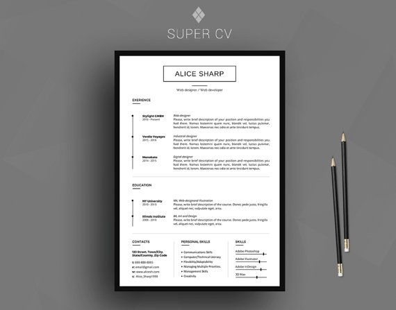 33 besten cv template  resume template  design and usability bilder auf pinterest