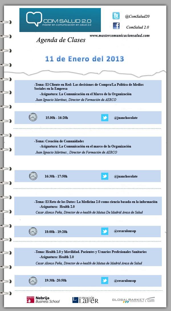 Agenda 11 de Enero del Máster en Comunicación en Salud 2.0 (COMSALUD 2.0)