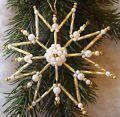 Perlenstern Gold Weiß mit MAGNETVERSCHLUSS 10 cm groß Christbaumschmuck Stern