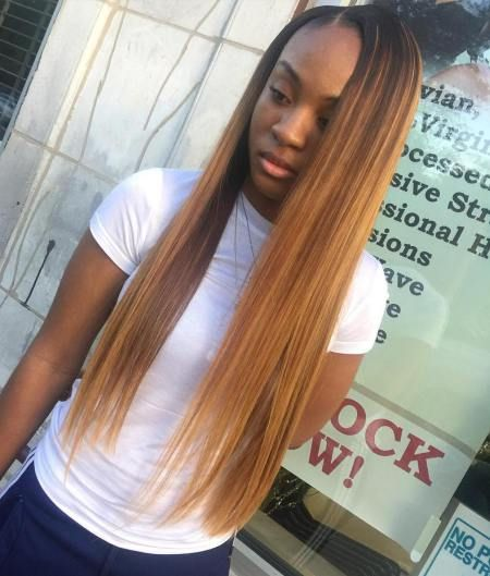 Long Straight Caramel Sew In Hair