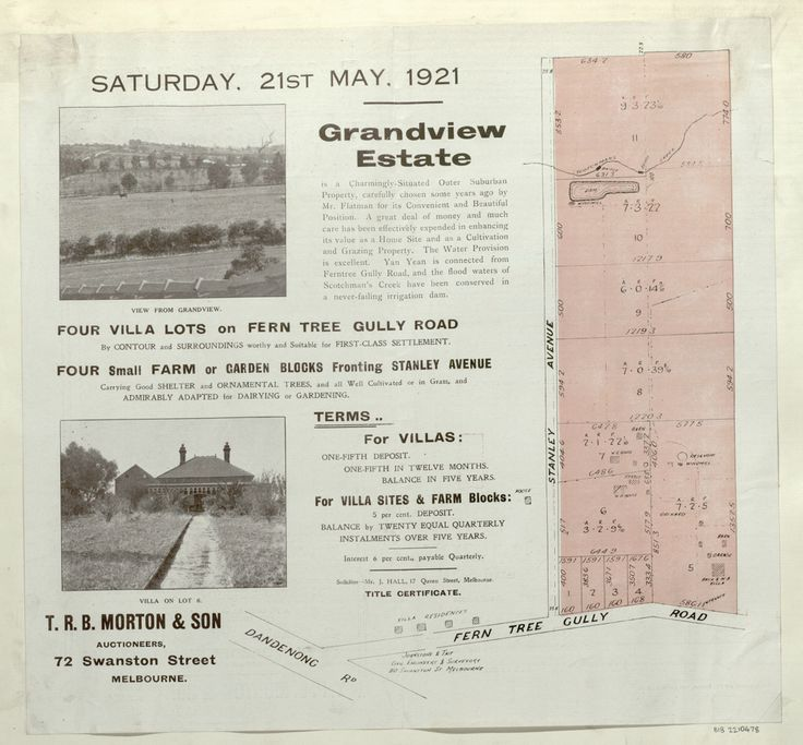Grandview Estate Mount Waverley in 1921 - now the corner of Stanley Avenue and Ferntree Gully Road