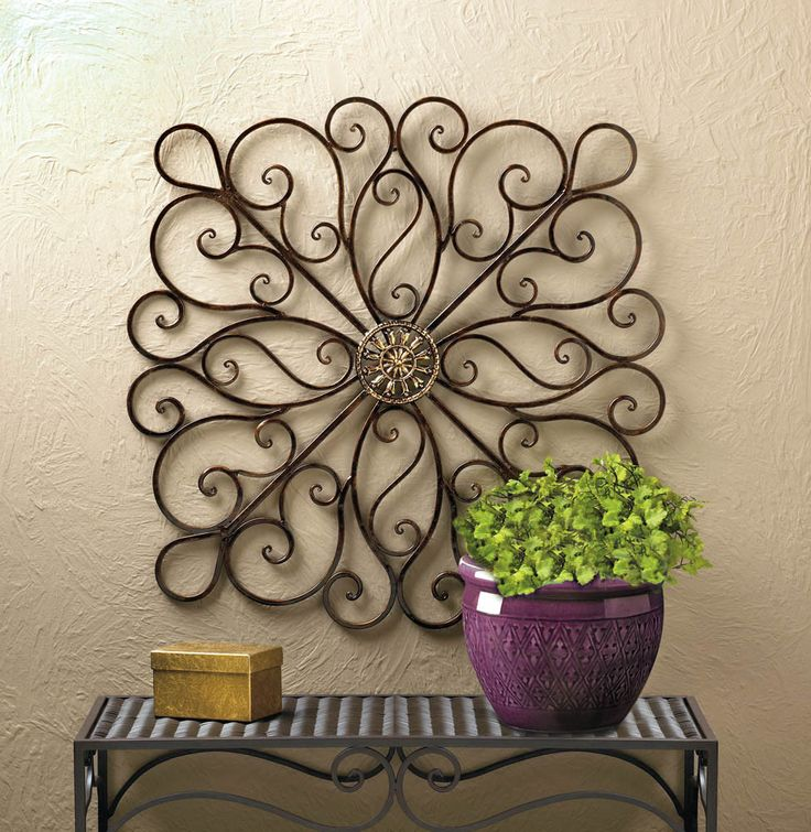 364 large square bronzed iron scrollwork metal wall art sculpture - Wrought Iron Wall Designs