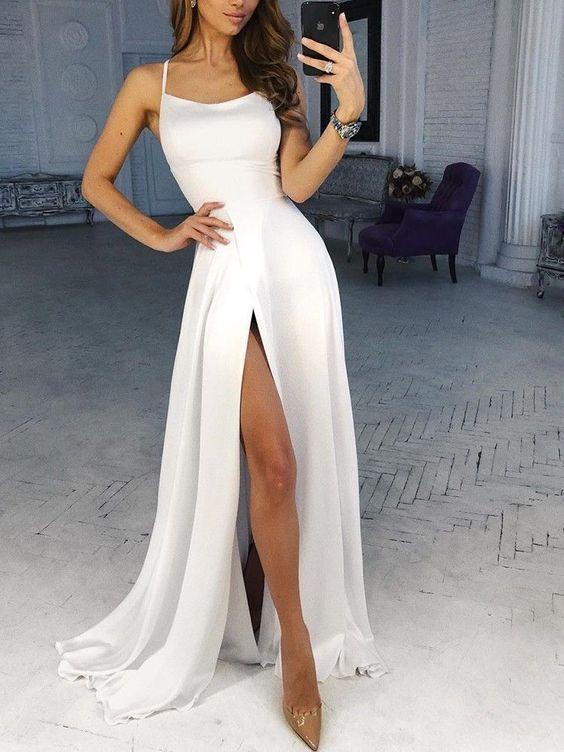 Spaghetti Strap Weiß Split Abendkleid – #Abendkle…