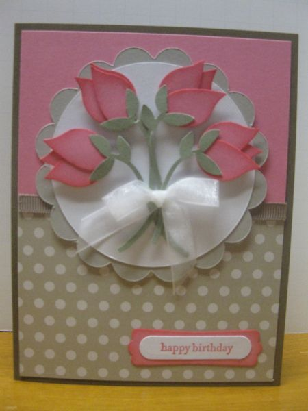 """Gorgeous Tulip Bouquet Card. Featuring the Stampin' Up! """"Bird Builder"""" punch. ♥♥♥"""